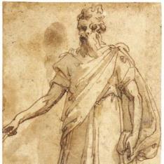 Figura masculina con barba, vistiendo una larga capa