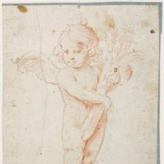 Ángel eucarístico sosteniendo un haz de espigas