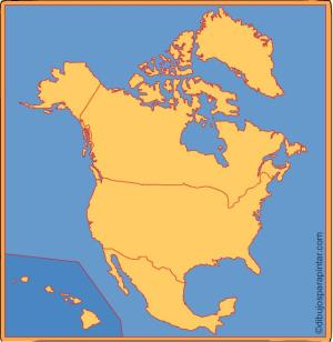 Países de Norte América. Dibujos para pintar