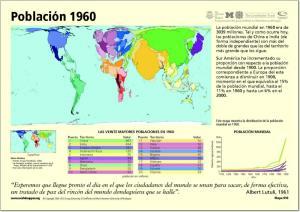 Mapa de países del Mundo. Población año 1960. Worldmapper