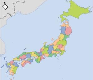 Mapa de prefecturas de Japón en color. Blographos