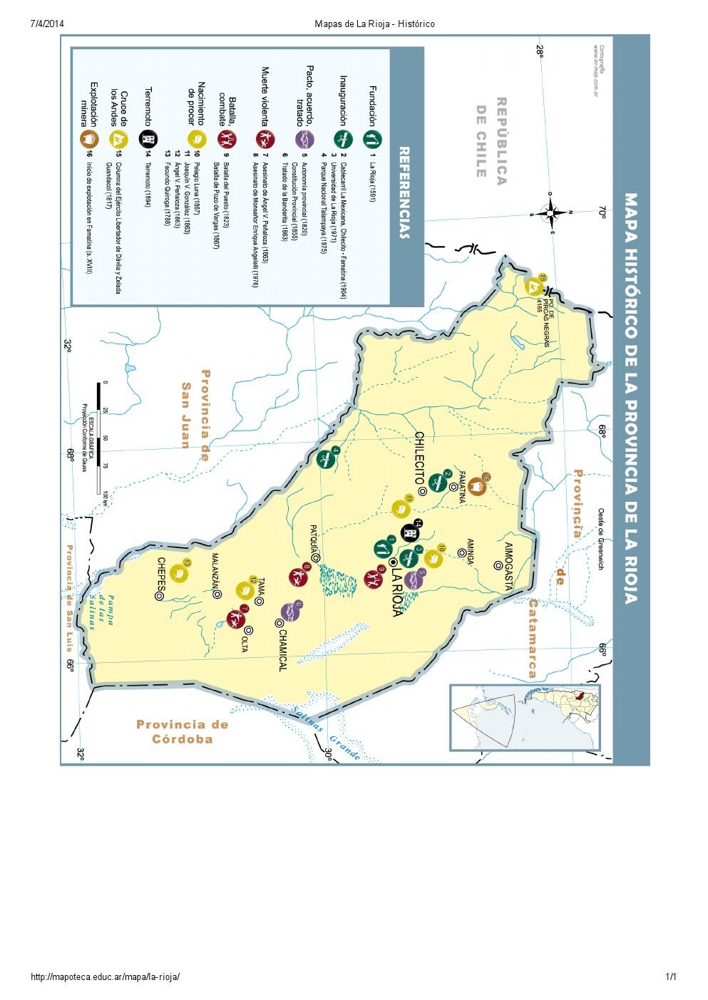 Mapa histórico de La Rioja. Mapoteca de Educ.ar