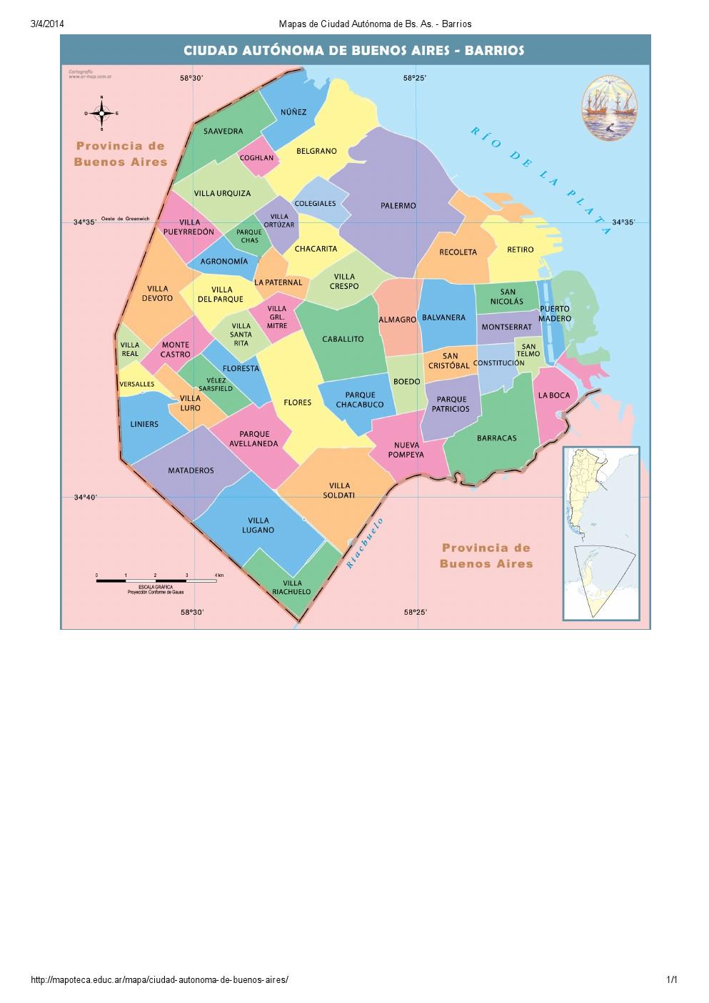 Mapa de barrios de la ciudad de Buenos Aires. Mapoteca de Educ.ar