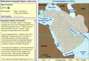 Geographic regions of Middle East. Game. Sheppard Software