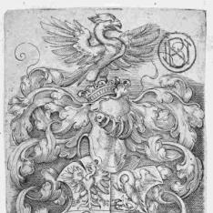 Escudo con águila sobre la corona del yelmo y cuatro aves en los campos