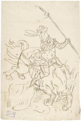 Marco Curcio a caballo saltando al abismo
