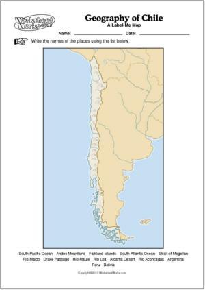 Mapa mudo de ríos y montañas de Chile. WorksheetWorks