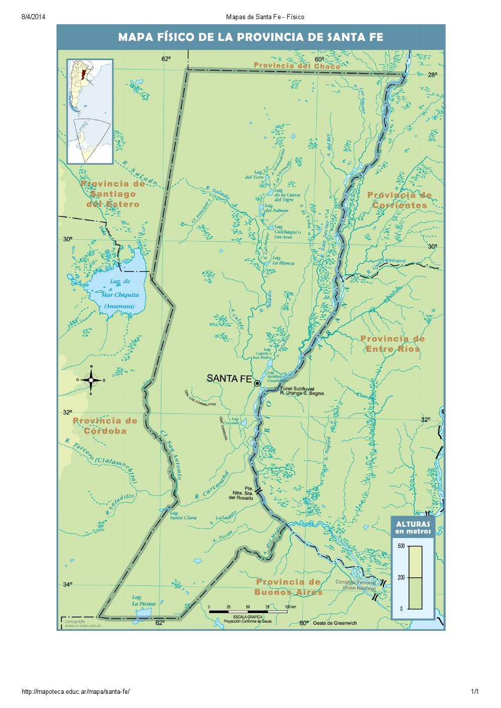 Mapa de ríos de Santa Fe. Mapoteca de Educ.ar