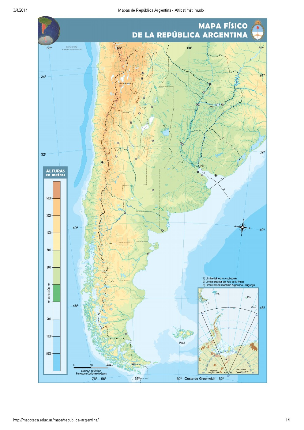 Mapa altibatimétrico mudo de Argentina. Mapoteca de Educ.ar