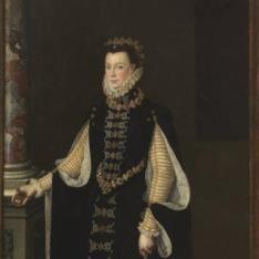 Isabel de Valois sosteniendo un retrato de Felipe II