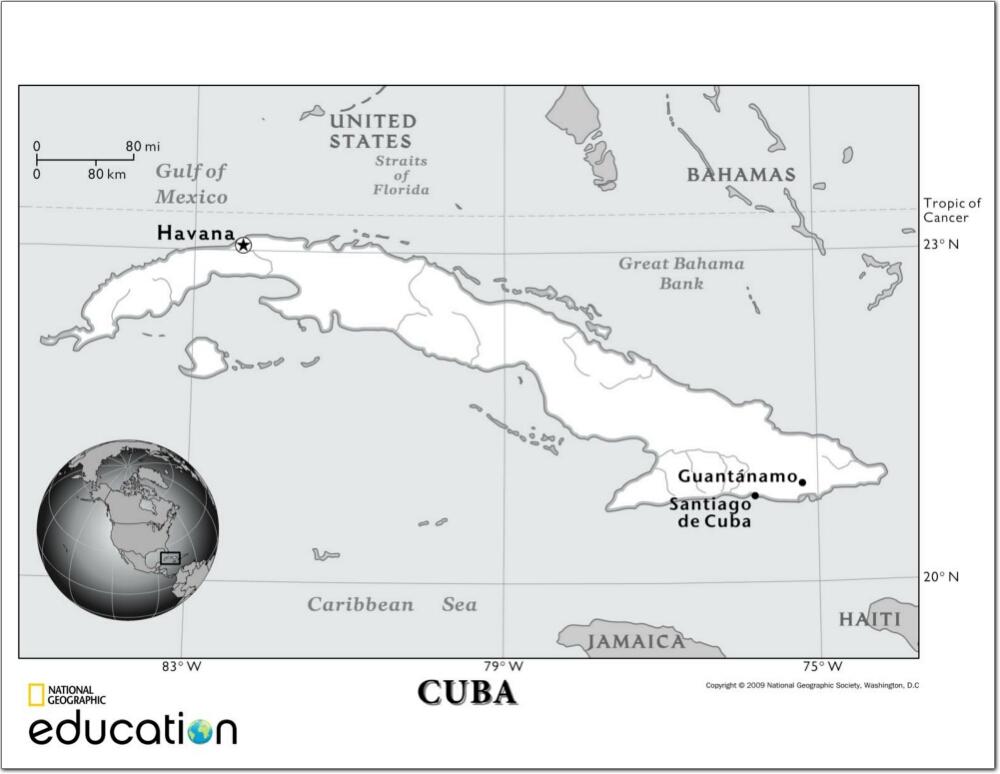 Mapa de ríos de Cuba. National Geographic