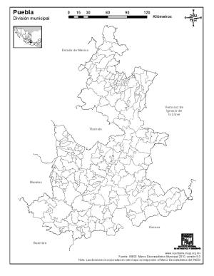 Mapa mudo de municipios de Puebla. INEGI de México