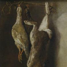 Bodegón de caza: una liebre y dos perdices