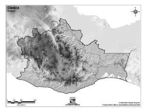 Mapa mudo de montañas de Oaxaca. INEGI de México