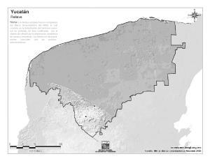 Mapa mudo de montañas de Yucatán. INEGI de México
