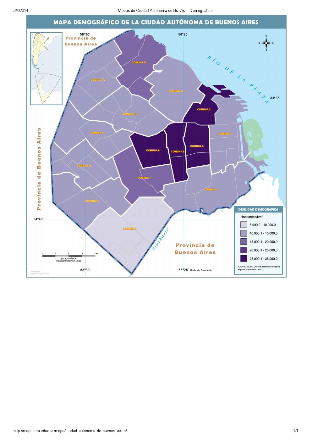 Mapa demográfico de la ciudad de Buenos Aires. Mapoteca de Educ.ar