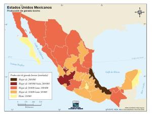 Mapa de producción de ganado bovino de México. INEGI de México
