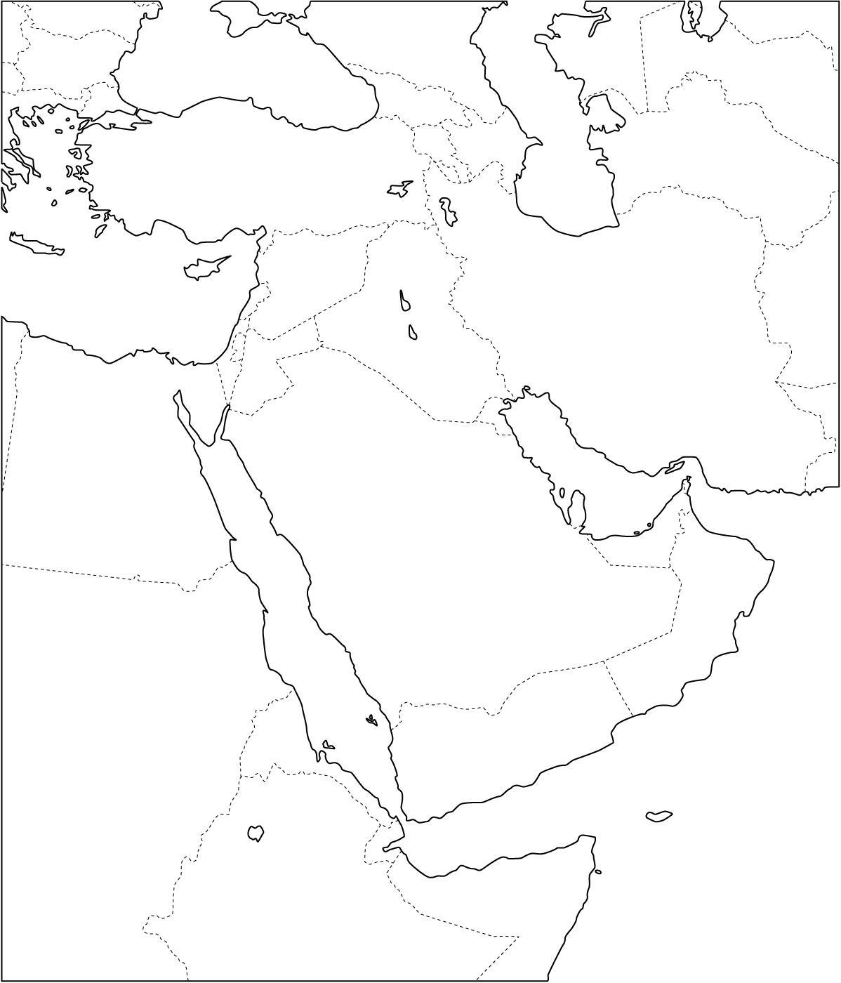 Mapa de países de Oriente Medio. Freemap