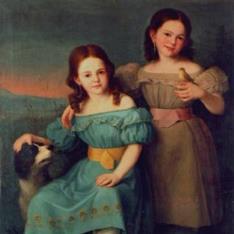 Retrato de dos niñas en un paisaje