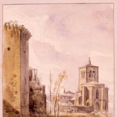 Vista del torreón del Amparo y del convento de San Miguel, Huesca