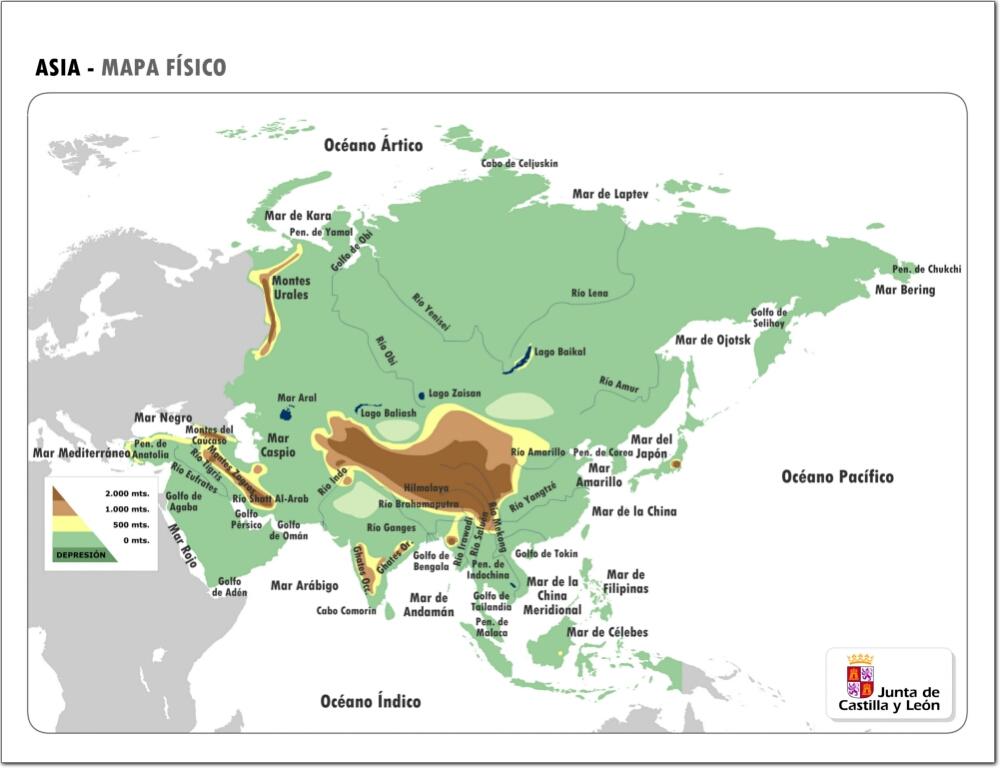 Mapa de relieve de Asia. JCyL
