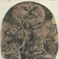 Minerva protegiendo a un hombre joven
