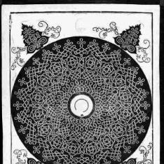 Modelo para bordado con círculo negro rodeando un medallón blanco
