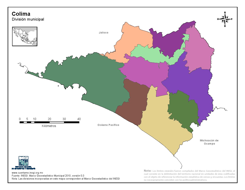 Mapa mudo de municipios de Colima. INEGI de México