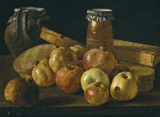 Bodegón: granadas, manzanas, tarros y cajas de dulce