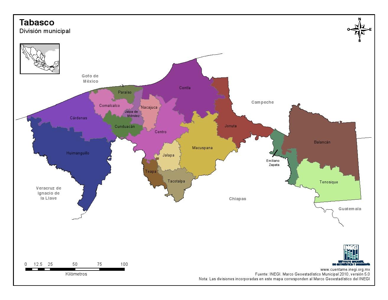 Mapa en color de los municipios de Tabasco. INEGI de México