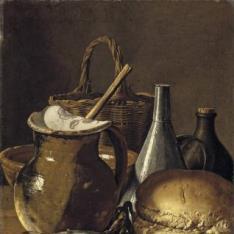 Bodegón: pescados, cebolletas, pan y objetos diversos