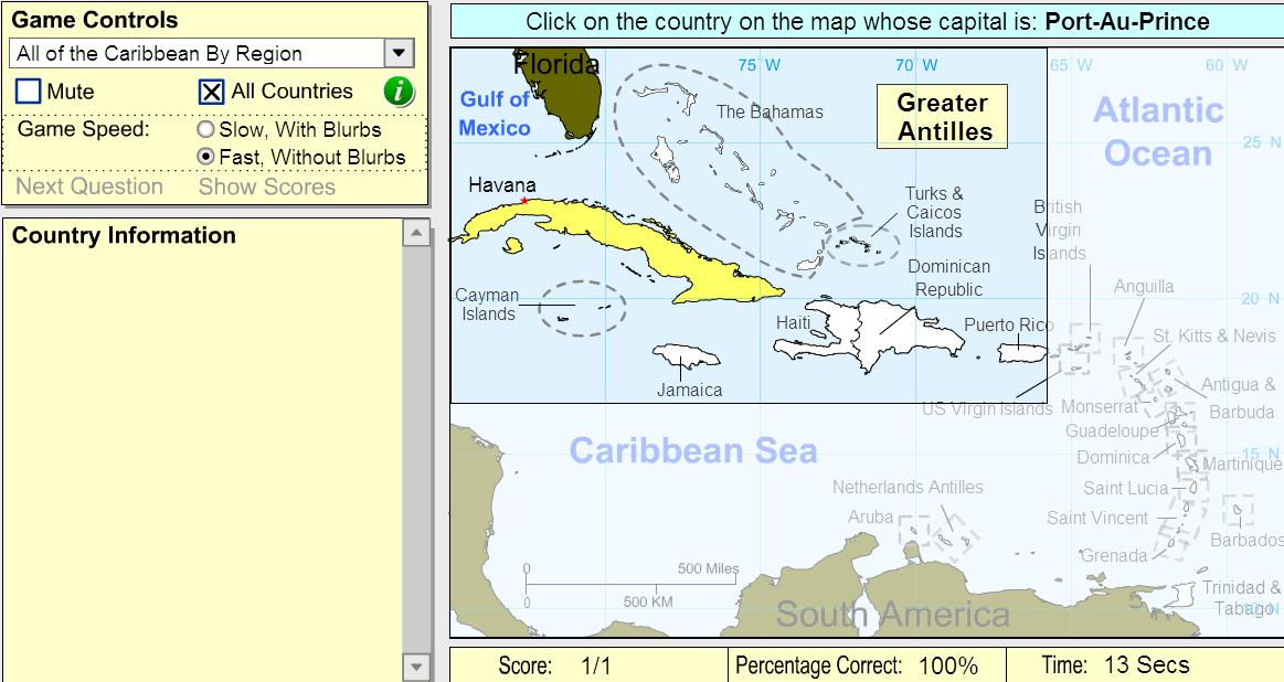 Capitals of the Caribbean. Beginner. Sheppard Software