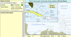 Capitals of the Caribbean. Beginner. Sheppard Software