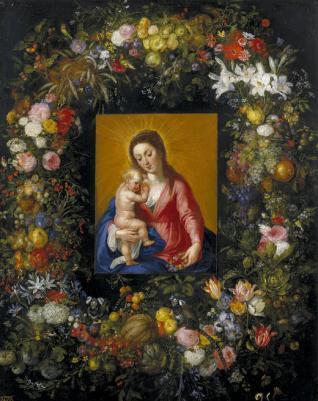Guirnalda con la Virgen y el Niño