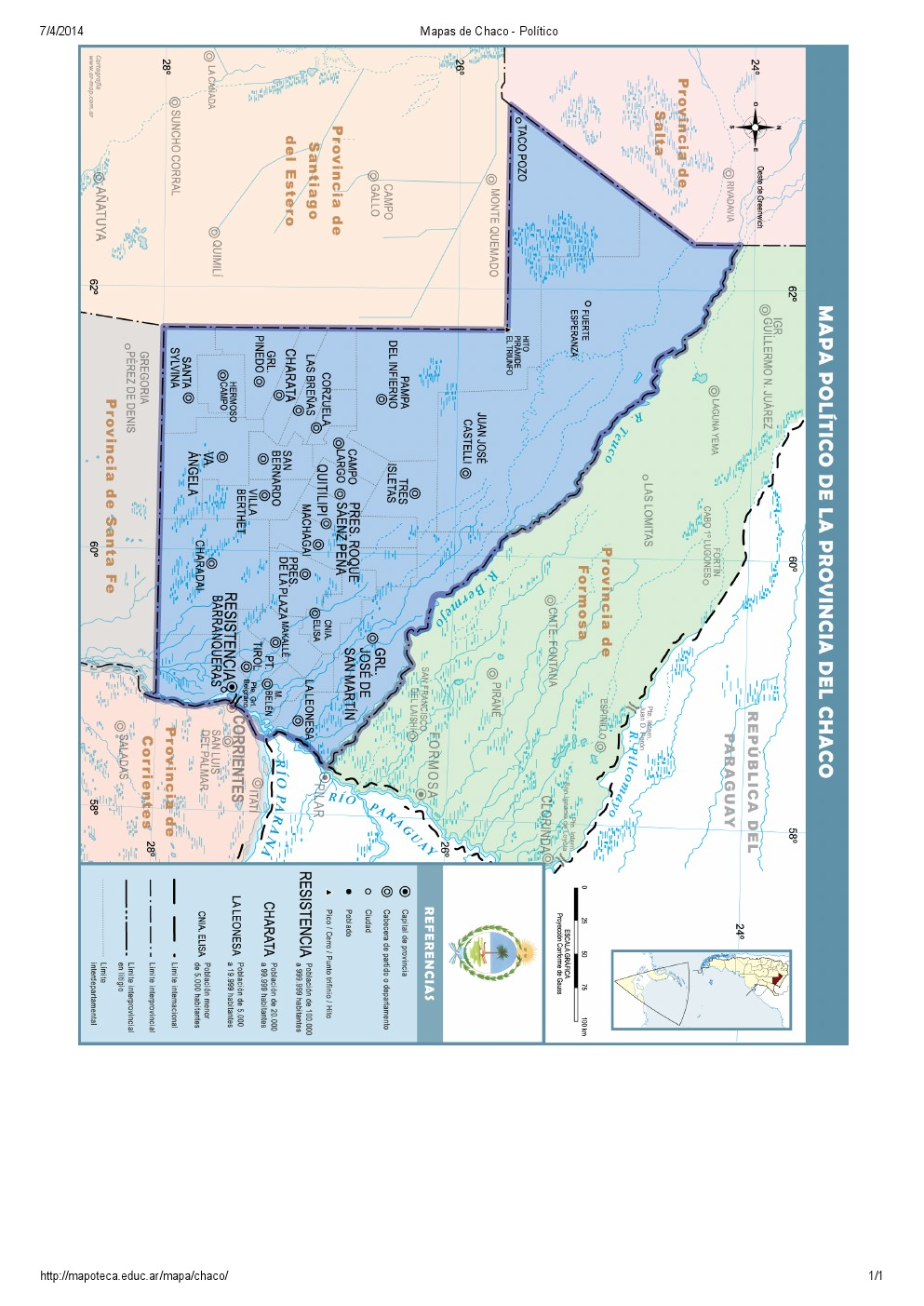 Mapa de capitales del Chaco. Mapoteca de Educ.ar