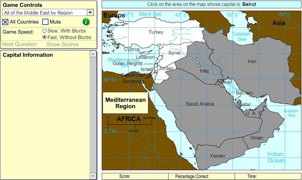 Capitals of Middle East. Beginner. Sheppard Software