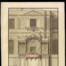 Alzado de la fachada del trono erigido para sus Majestades adosado a la fachada del Louvre