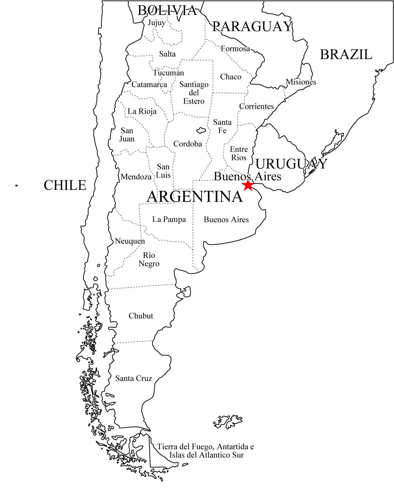 Mapa de provincias de Argentina. Freemap