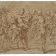 Putti desnudos tocando instrumentos y bailando