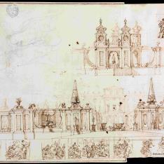 Pabellón de entrada y tapias del jardín de un palacio