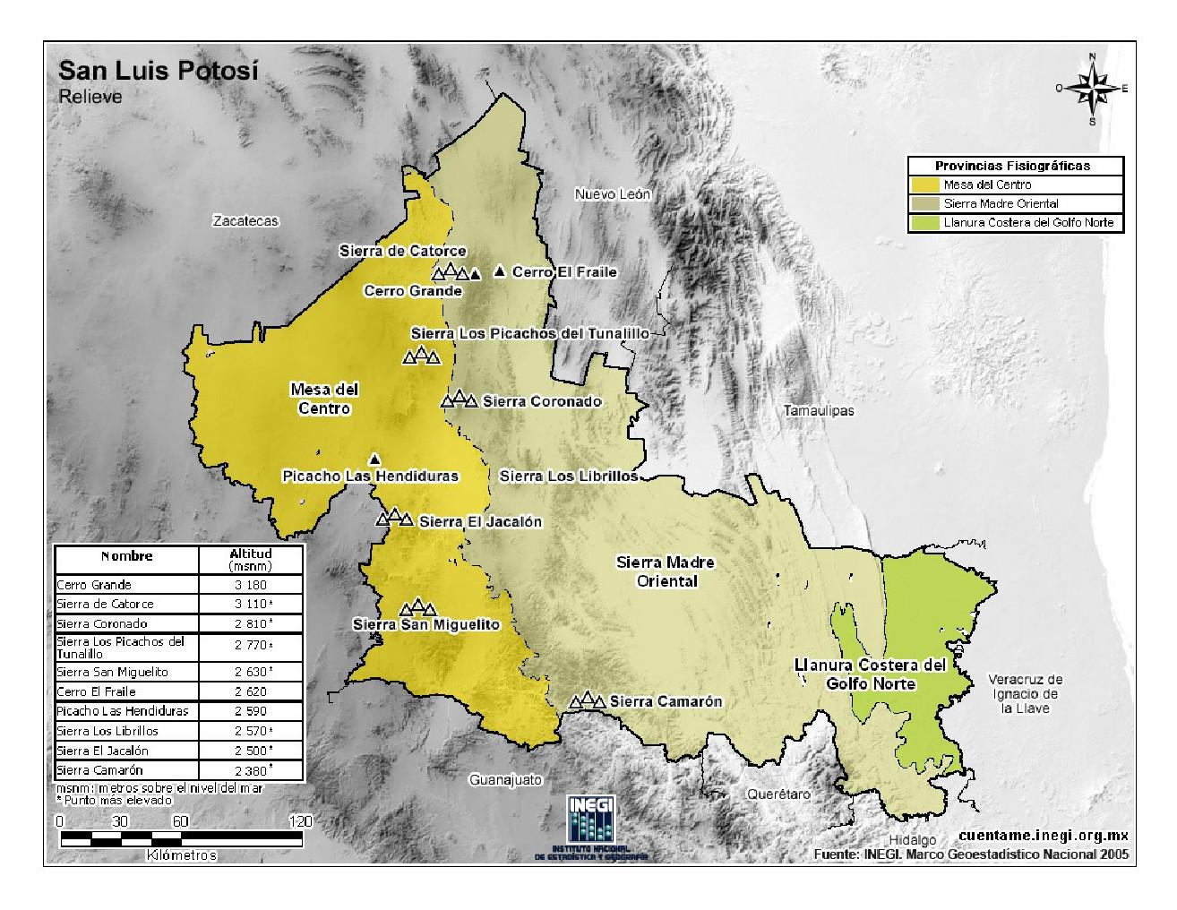 Mapa en color de montañas de San Luis Potosí. INEGI de México