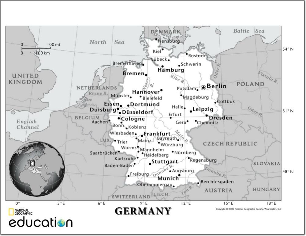 Mapa de ciudades y ríos de Alemania. National Geographic