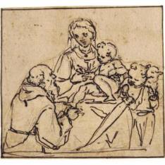 La Virgen y el Niño con San Juanito, adorados por un santo monje barbado