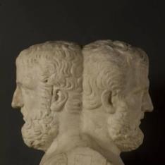 """""""Herma doble: A) Griego desconocido  B) El llamado """"""""Kolotes""""""""; Licurgo de Atenas (¿?)"""""""