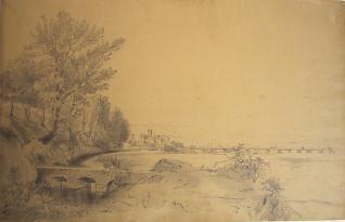 Vista de un pueblo junto al río