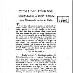 Dudas del Pensador consultadas a Doña Tecla, acerca del incomparable Catecismo de Ripalda