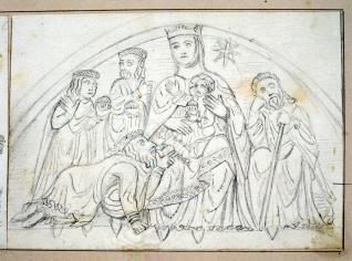 Tímpano con la Epifanía, Ermita de Santiago, Agüero, Huesca