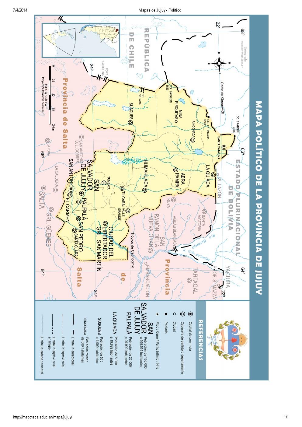 Mapa de capitales de Jujuy. Mapoteca de Educ.ar