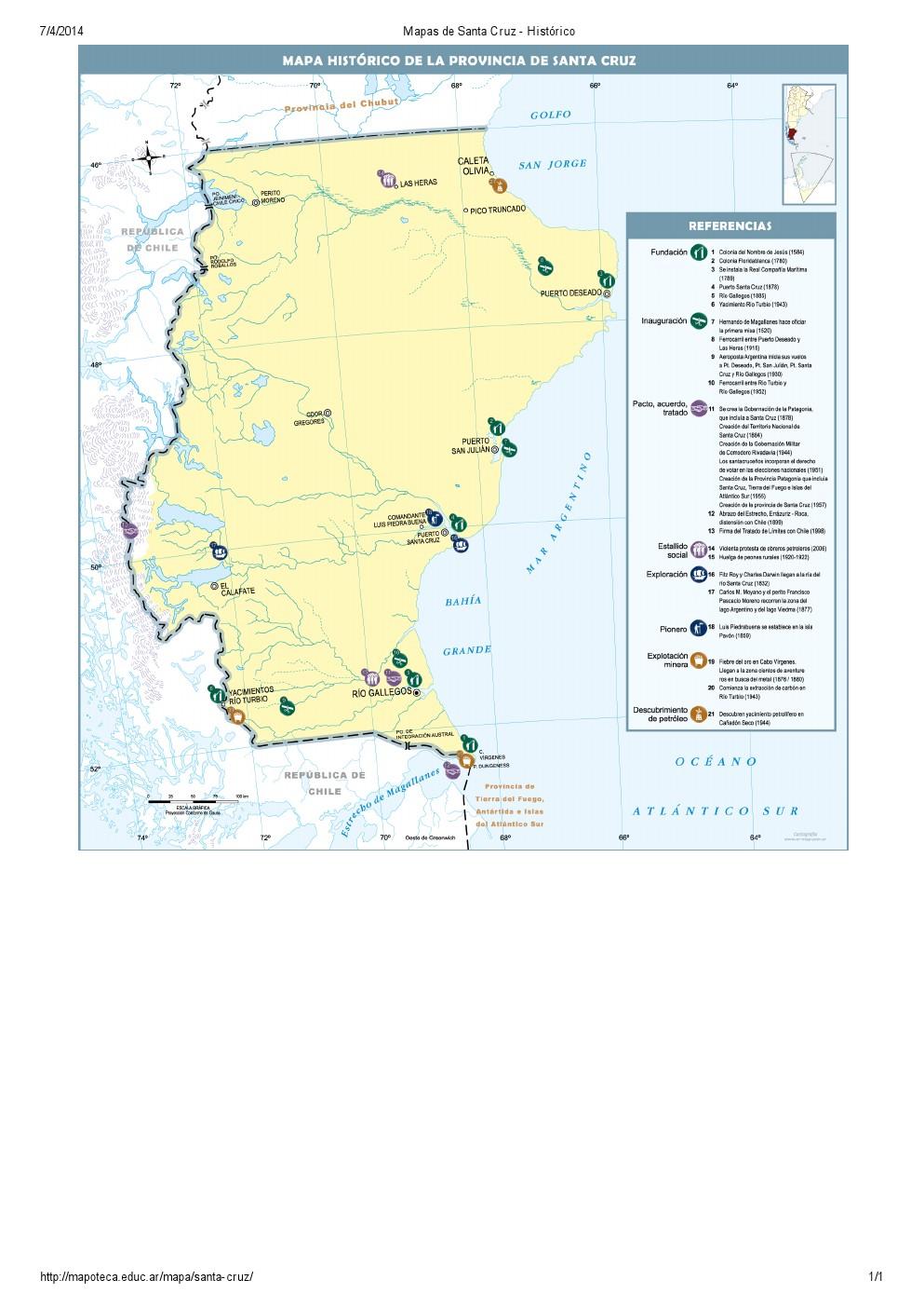 Mapa histórico de Santa Cruz. Mapoteca de Educ.ar
