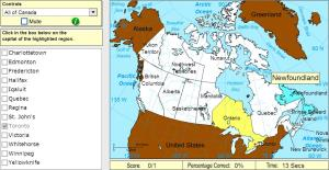 Capitals of Canada. Intermediate. Sheppard Software